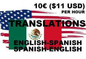 I TRANSLATE ENGLISH & SPANISH  10€/$11 USD